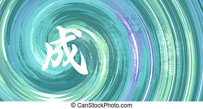 siker, kínai, jelkép