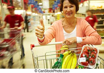 sikeres, bevásárlás