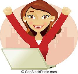 sikeres, nő, laptop