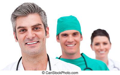 sikeres, orvosi sportcsapat, portré