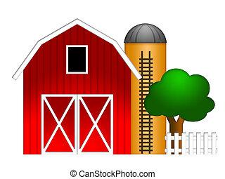 siló, gabona, piros, ábra, istálló