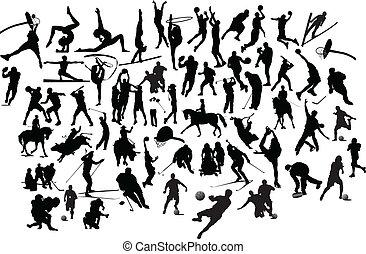 silhouettes., ábra, vektor, fekete, gyűjtés, fehér, sport