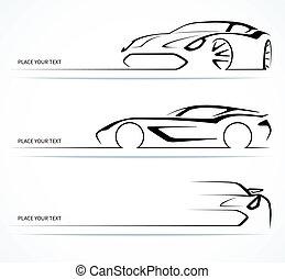 silhouettes., elvont, állhatatos, lineáris, autó