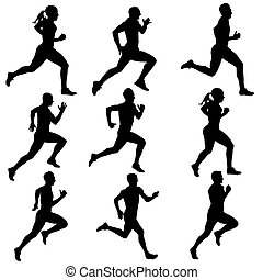 silhouettes., futás, vektor, állhatatos, illustration.