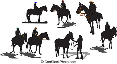 silhouettes., hét, vektor, ló, ábra