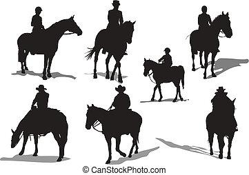 silhouettes., ló, vektor, lovasok, ábra