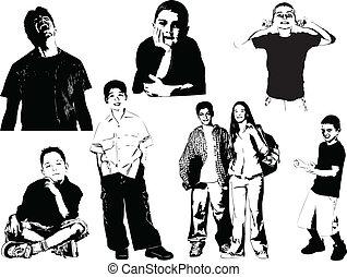 silhouettes., nyolc, tizenéves, vecto