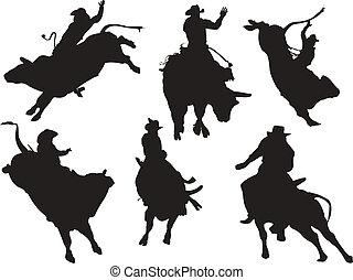 silhouettes., rodeó, vektor, hat, ábra
