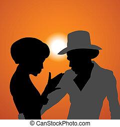 silhouettes., szeret