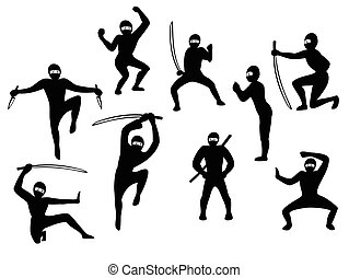 siluet, állhatatos, eps10, vektor, szamuráj, action., fekete, ábra, arcmás, fehér