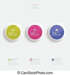 sima, gombok, infographic, műanyag, színes