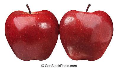 simetrical, két, alma