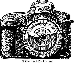 single-lens, fényképezőgép, visszfény