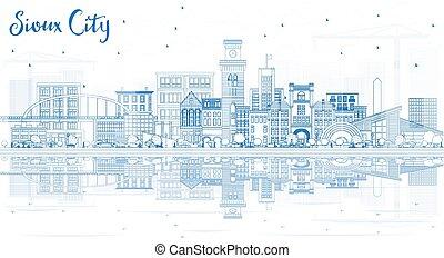 sioux, reflections., épület város, láthatár, áttekintés, iowa, kék