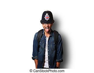 sisak, ember, fiatal, brit, rendőr