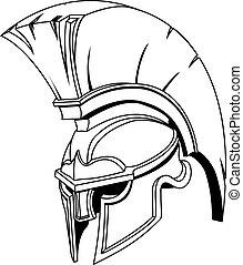 sisak, vagy, trójai, spartan, görög, ábra, római, gladiator