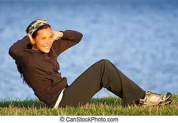 sit-ups, nő, gyakorlás, /