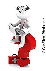 sittting, laptop, medikus, kérdőjel, piros
