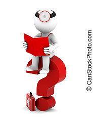 sittting, medikus, kérdőjel, könyv, piros