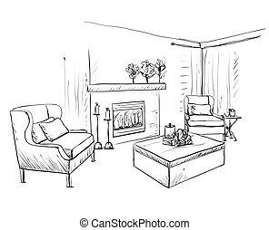 sketch., belső, hálószoba berendezés, kéz, húzott, modern