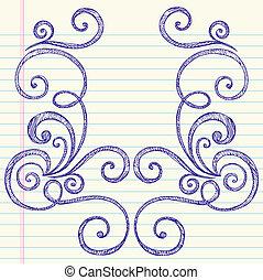sketchy, doodles, kavarog, vektor, keret