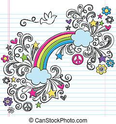 sketchy, szivárvány, galamb, doodles, béke