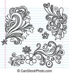 sketchy, vektor, swirly, doodles, csillag