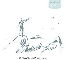 skicc, árnykép, tető, nyertes, vektor, hegy, húzott, ember