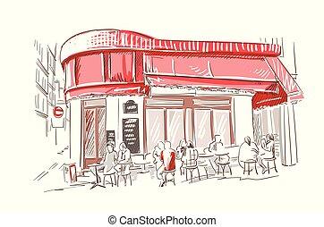 skicc, étterem, párizs, francia, vektor, ábra, európai