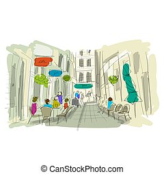 skicc, öreg, utca, tervezés, -e, európai