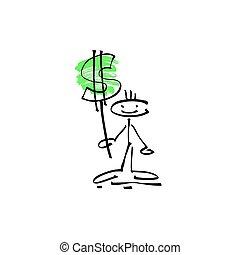 skicc, alak, dollár, kéz, bot, emberi, mosoly, aláír, rajz