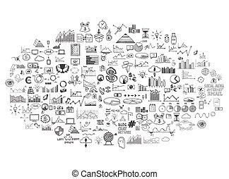 skicc, alapismeretek, pénzel, ügy, szórakozottan firkálgat, ecomomic, gyűjtés, kéz, infographics, húzott