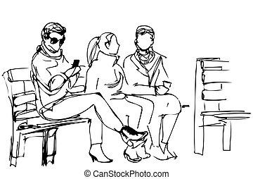 skicc, bírói szék, barátok, ülés