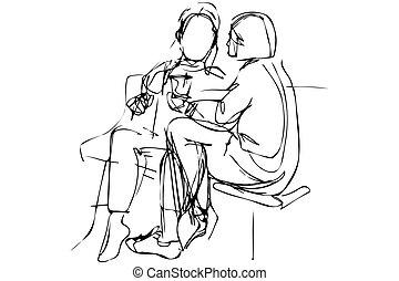 skicc, bírói szék, párosít, fiatal