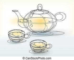 skicc, csészék, teáskanna