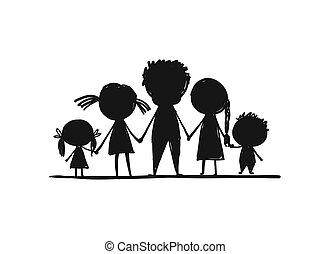 skicc, család, tervezés, együtt, -e, boldog