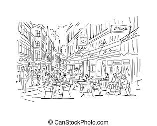 skicc, -e, tervezés, európai, utca, öreg
