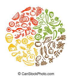 skicc, egészséges táplálék, háttér, tervezés, -e