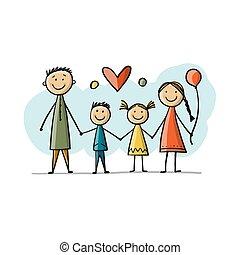 skicc, együtt, boldog, -e, tervezés, család