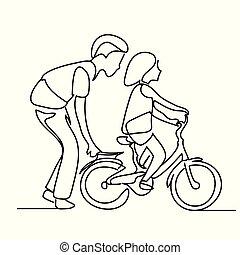 skicc, emberek, atya, autózás, egy, ételadag, park., gyermek, egyenes, bicycle., rajz