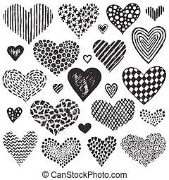 skicc, gyűjtés, kéz, vektor, hearts., húzott