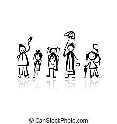 skicc, gyalogló, tervezés, -e, család
