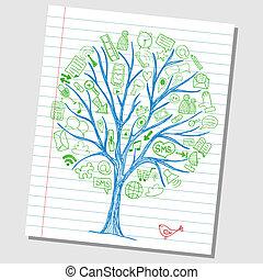 skicc, húzott, mindenfelé, ikonok, média, -, fa, kéz, társadalmi, doodles