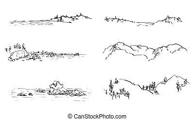 skicc, hegy, tengerpart, tinta, természet, táj, illustrations., vad, set., horizontális