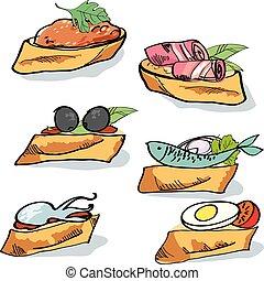skicc, illustration., bread., falatozás, élelmiszer, tapas, gyorsan, étkezés, vektor, concept.