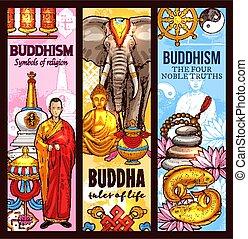 skicc, jelkép, vallás, buddhizmus, szent, szalagcímek