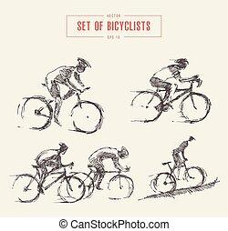 skicc, kerékpáros, férfiak, vektor, húzott, lovas