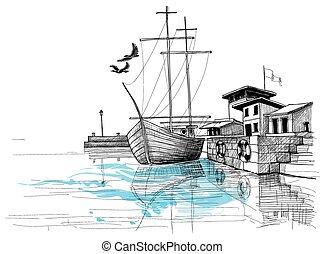 skicc, kikötő, ábra, tengerpart, vektor, csónakázik
