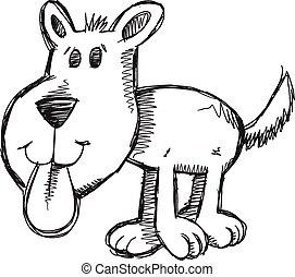skicc, művészet, szórakozottan firkálgat, kutya, vektor, kutyus
