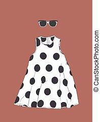 skicc, nap, polka, vector., ruha, pont, szemüveg